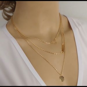 3 Layer Triangle Bar gold necklace NEW